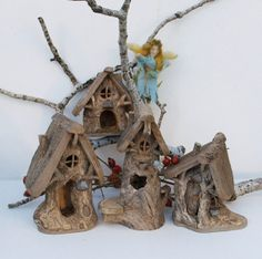 Rare Vintage Woodland Fairy House Set from Willodel by willodel