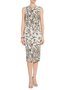 Painted Floral Organza Jewel Neck Dress