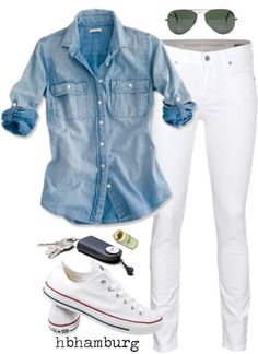 With chambray shirt & white jeans