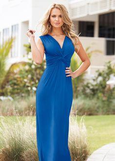 Vestido longo areia encomendar agora na loja on-line bonprix.de  R$ 119,00 a partir de Vestido longo com decote V e nó logo abaixo do decote, que destaca as ...