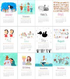 2015 monthly Calendar by behappynow on Etsy Calendar 2019 Printable, Cute Calendar, Calendar Organization, Bullet Journal Themes, Desk Calendars, Calendar Design, Illustrations And Posters, Doodles, Graphic Design