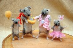 Felt mouse/Happy Mouse Family  Loving family by Morenafelting