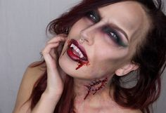 DIY Halloween Bitten Vampire Makeup Inspiration from Sandra Holmbom. Go to the link for products used and more photos. For more amazing Halloween and cosplay makeup from Sandra Holmbom go here:. Halloween Diy, Happy Halloween, Halloween Costumes, Halloween Face Makeup, Hollywood Makeup, Horror Makeup, Cosplay Makeup, Makeup Inspiration, Amazing