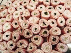 party food~ a favorite, ham roll ups w cream cheese and green onion although my family just dices up an onion very very fine and mixes it with the cream cheese then rolls it up. ONLY way I will eat ham!