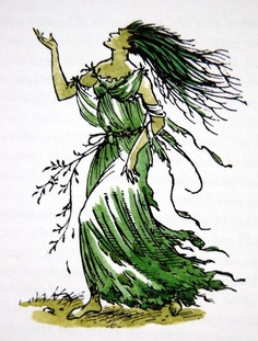 "Dryad by Pauline Baynes. ""'Woe, woe, woe!' called the voice.  'Woe for my brothers and sisters!  Woe for the holy trees!  The woods are laid waste.  The axe is loosed against us.  We are being felled.  Great trees are falling, falling, falling.'"" - The Last Battle"