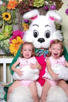 The most miserable Easter Bunny visit EVER!  Via: iamthebetterhalf.blogspot.com