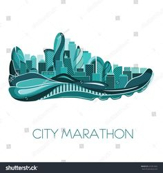 Poster - running, sport shoe and the city. Shoes Ads, Logo Shoes, Kids Running, Running Track, Marathon Posters, Running Drawing, Shoes Vector, Shoe Poster, City Marathon