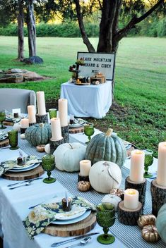 A green palette as an alternative to the oranges, reds and yellows typical of fall weddings.  Fresh, Fall Entertaining