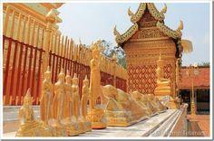 Só dentro de Chiang Mai existem 84 templos. O mais importante é o que guarda a estatueta do Buda Leão, fundida no ano de 157, em Sri Lanka, por ordem do rei Sihala Patima. Vagou séculos pela Ásia, refém de conquistadores. As estátuas sequestradas eram prova de uma vitória, símbolo de conquista. Até que vencidos, mas espertos, passaram a entregar cópias, guardando originais.