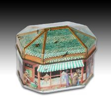 "IAN LOGAN HOUSE SHAPED SMALL TIN ""HABERDASHERY STORE SHOP"" CONTAINER - 1983"