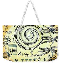 Warli Day Weekender Tote Bag x by Anjali Vaidya. The tote bag includes cotton rope handle for easy carrying on your shoulder. Cotton Rope, Tribal Art, Bag Sale, Poplin Fabric, Fine Art America, My Arts, Tote Bag, My Love, Day