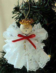 Weihnachtsengel Spitze weiß schöne Bastel Idee