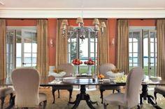 Orange Traditional Dining Room