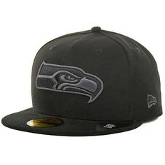 brand new 251d2 7f07a Seattle Seahawks New Era 59Fifty Basic Black Grey Fitted Hat