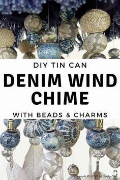 How to make an upcycled denim wind chimes using a tin can and an assortment of beads and metal charms. Welding Projects, Diy Craft Projects, Craft Tutorials, Fun Crafts, Project Ideas, Craft Ideas, Denim Crafts, Upcycled Crafts, Handmade Crafts