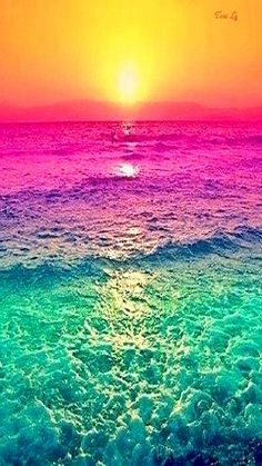 """Sunset with the water's colours altered. It seems like it was simply done using a photo-editing program or something but still it looks neat. It definitely adds a different """"definition"""" to it than it would a regular sunset. Galaxy Wallpaper, Nature Wallpaper, Wallpaper Backgrounds, Summer Wallpaper, Mobile Wallpaper, Colorful Backgrounds, Waves Wallpaper, Rainbow Wallpaper, Beach Wallpaper"""
