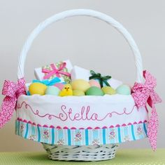 Darling Easter basket featuring Siobahn from the Sis Boom Poodle fabric line
