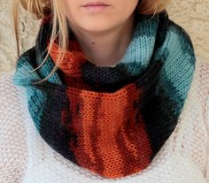 Knit Scarf  with button  infinity scarf circle scarf by KnitScarf, $25.90