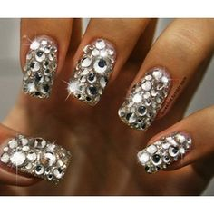 nails.quenalbertini: Silver sparkle nails