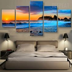 Blue Sea Waters Painting - 5 Piece Canvas | TEEPEAT