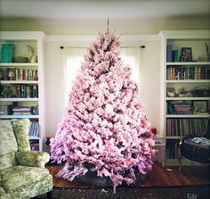 56 Cute Pink Christmas Tree Decoration Ideas You Will Totally Love. If you have a young girl at home or if you yourself feel like a little girl then this year you can express that with a pink Christma. Pink Christmas Tree Decorations, Fruit Christmas Tree, Different Christmas Trees, Pretty Christmas Trees, Flocked Christmas Trees, Christmas Tree Toppers, Christmas Colors, White Christmas, Christmas 2016