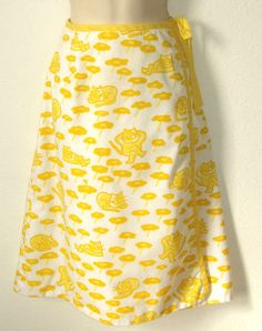 Vtg The Vested Gentress Wrap Around Skirt Yellow Cats Luxuriating in a field of sunny-side up daisies~S #TheVestedGentress