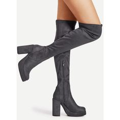 c2ea6263149 Block Heeled Thigh High Boots ❤ liked on Polyvore featuring shoes