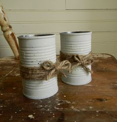 Shabby Chic, Rustic Wedding Decor Flower Vases, Painted Metal Can Vases FREE US Shipping