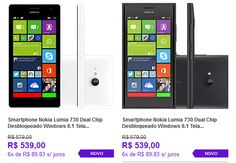 """Smartphone Nokia Lumia 730 Dual Chip Windows 8.1 Tela 4.7"""" 8GB Wi-Fi Câmera 6.7MP GPS << R$ 51205 em 6 vezes >>"""