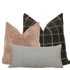 Pillow Combo #2 | 3 Pillow Covers Sofa Pillows, Throw Pillows, Cushions, African Mud Cloth, Room Accessories, Vintage Pillows, Grey Stripes, Vintage Floral, Throw Pillow Covers