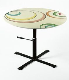 Osvaldo Borsani and Luigi Veronesi    Adjustable Table, Model n.T 41, ca. 1958    Manufactured by Tecno, Italy  painted metal and wood (painted top signed VB)  30 1/2 x 41 3/8 inches diam. (77.5 x 105.1 cm)