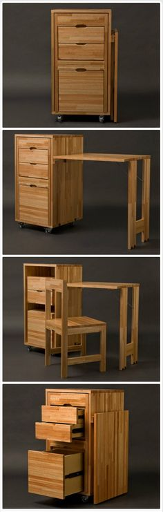 Transforming cabinet with hidden table and chairs from Claudio Sibille is part of Folding furniture - Uruguayan industrial designer Claudio Sibille has created Ludovico, a concept that is a clever as it is simple Two chairs are placed inside the cabinet Folding Furniture, Smart Furniture, Space Saving Furniture, Wood Furniture, Furniture Design, Kitchen Furniture, Furniture Ideas, Chair Design, Funny Furniture