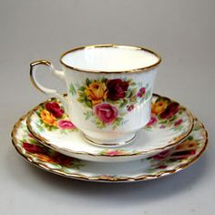 Love this English Royal Stafford Bouquet pattern bone china tea cup saucer and side plate perfect for afternoon tea