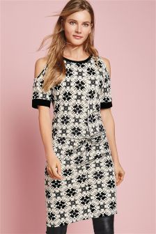 Black/White Print Twist Front Dress