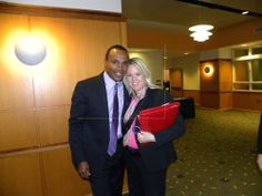 Sugar Ray Leonard and KidSafe Cofounder Sally Berenzweig meet at Penn State Sexual Abuse Prevention Conference