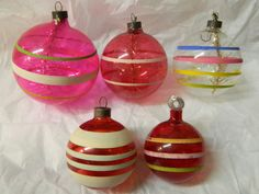 5 Vintage Unsilvered WWII War Pink Red Striped Paper Cap Christmas Ornaments