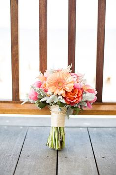Wedding Bouquets : Picture Description North Beach Maryland Wedding Full of Happy Color: www. Cute Wedding Ideas, Wedding Trends, Wedding Styles, Floral Wedding, Wedding Bouquets, Wedding Flowers, Friend Wedding, Wedding Wishes, Peach Bouquet