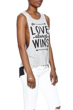 Soft high-low top with long armholes and black material along back hem.   Love Wins Top by Tres Bien. Clothing - Tops - Sleeveless Clothing - Tops - Tees & Tanks Dallas, Texas