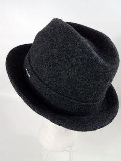 7b37fdf17 KANGOL  Hat Fedora Mens Size Small Dark Flannel Grey 100% Wool Player  Tribly