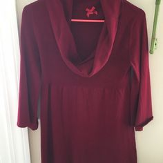 Cowl neck sweater Cranberry red cowl neck sweater with 3/4 length bell like sleeves Forever 21 Sweaters Cowl & Turtlenecks