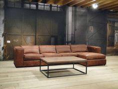 Leren chaise longue bank Palagano - ROBUUSTE TAFELS! Direct uit voorraad of geheel op maat >>