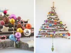 Don't want a regular Christmas tree this year? Check out these 60 alternative Christmas tree ideas that are simple and festive. Creative Christmas Trees, Diy Christmas Tree, Xmas Tree, Christmas Tree Decorations, Christmas Holidays, Christmas Ornaments, Holiday Decor, Charlie Brown Christmas Tree, Christmas Makes