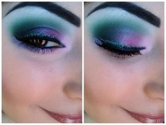 Teal + Purple + Pink Eyeshadow with Black Eyeliner and some Glitter Liner