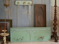 Old Shabby Wall Coat Rack Very Large Chic Distressed Aqua Paint. $595.00, via Etsy.