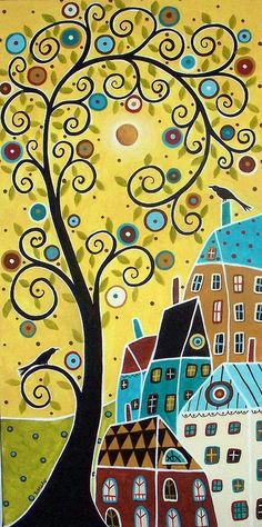 How wonderful! Image by Karla Gerard includes a swirling tree, birds and houses with yellow and robin's egg blue. I love folk art pieces! #robinseggblue #karlagerard