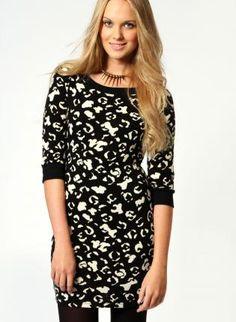 Free Shipping Lola Monochrome Animal Knit Bodycon Dress,  Dress, Lola Monochrome Animal Knit Bodycon Dress, Eco Friendly