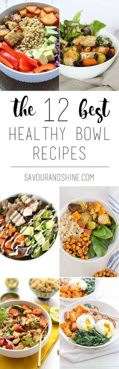 My favourite one-bowl meals that are healthy, easy, and so delicious! Let these recipes inspire you to create your own for breakfast, lunch, or dinner bowl! The 12 Best Healthy Bowl Recipes // pin for later or click through to check it out --> http://www.savourandshine.com/best-healthy-bowl-recipes/