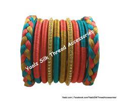 Yaalz Silk Thread Plaited Partywear Elegant Bangle Sets In Assorted Colors Silk Thread Earrings Designs, Silk Thread Bangles Design, Silk Thread Necklace, Thread Bracelets, Thread Jewellery, Bangle Box, Thread Work, Toe Rings, Diy Earrings