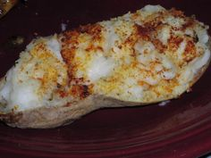WW Twice Baked Garlic Potatoes:  8 servings, 3 pts., 101.4 calories, 1.2 g fat per serving
