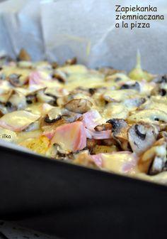 Spód ziemniaczany z wierzchem na który możemy wrzucić co nam się podoba (tak jak na pizzę zresztą). U mnie tradycyjnie z pieczarkami i ...